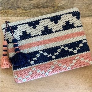 BOHO Natural pink & navy woven clutch with tassels